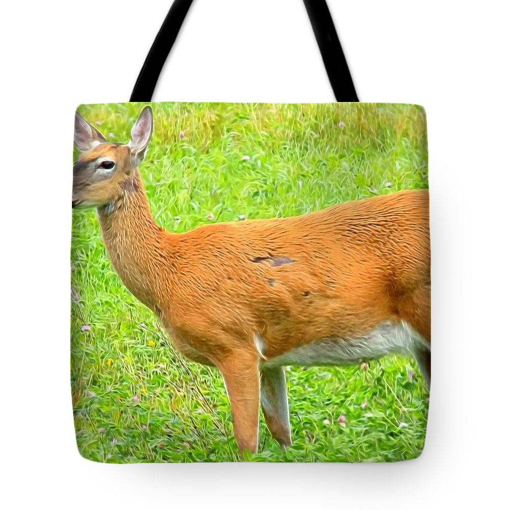 Deer Tote Bag featuring the photograph Doe A Deer by William Tasker