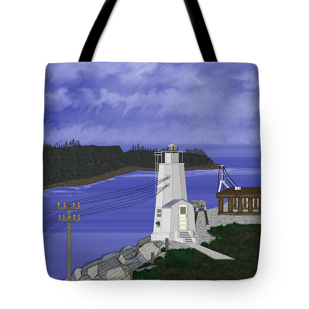 Lighthouse Tote Bag featuring the painting Dofflemeyer Point Lighthouse At Boston Harbor by Anne Norskog