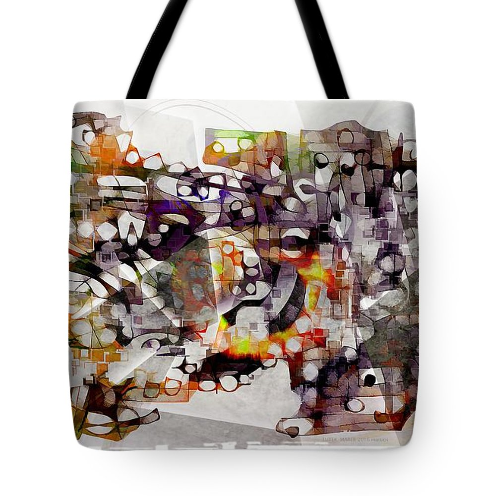 Abstraction Tote Bag featuring the digital art Dog 3552 by Marek Lutek