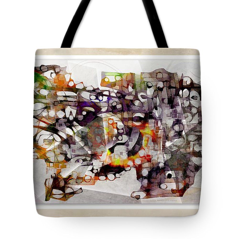 Abstraction Tote Bag featuring the digital art Dog 3556 by Marek Lutek
