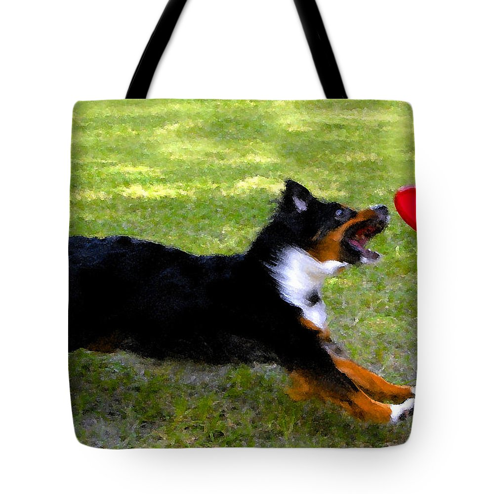 Frisbee Tote Bag featuring the painting Dog And Red Frisbee by David Lee Thompson