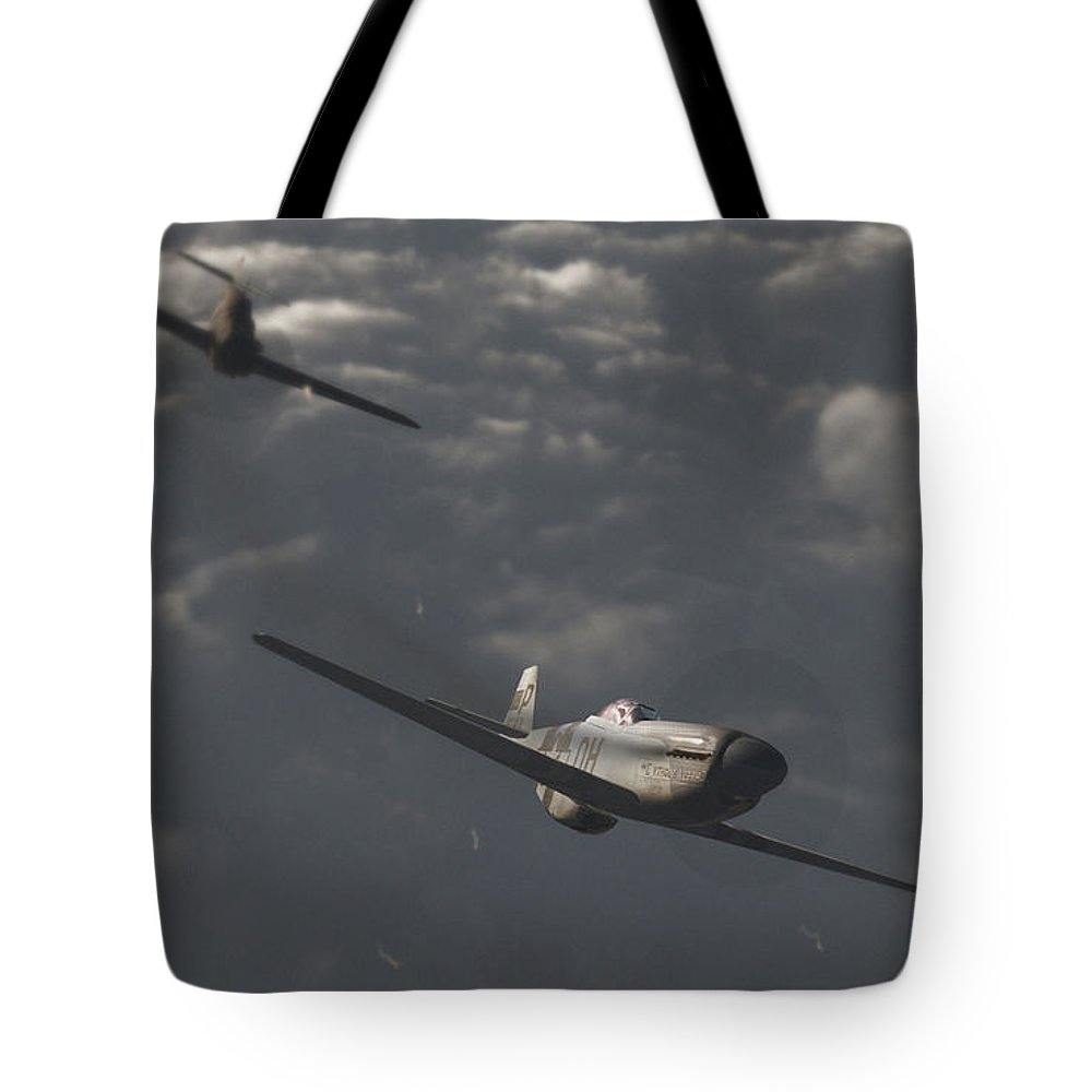 Ww2 Tote Bag featuring the digital art Dog Fight by Richard Rizzo