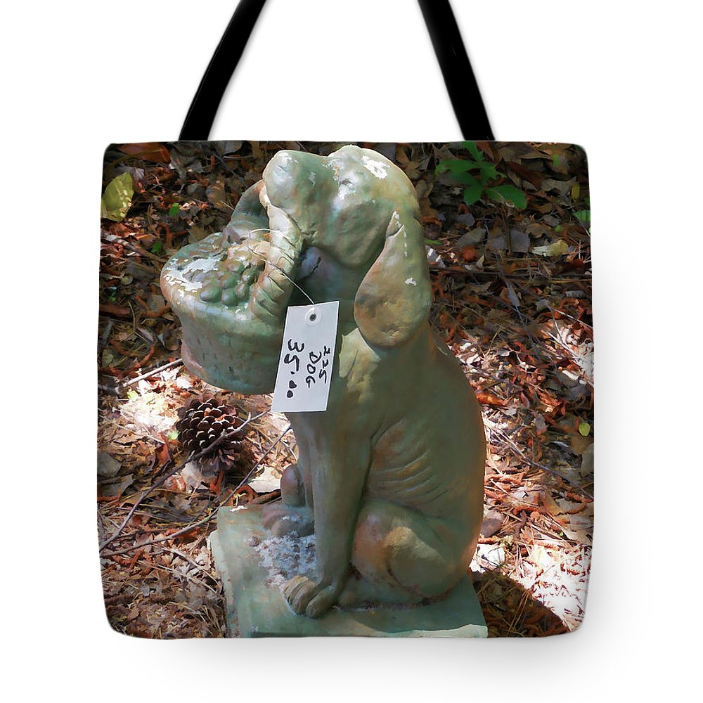 Dog Garden Statues Tote Bag featuring the painting Dog Garden Statues by Jeelan Clark