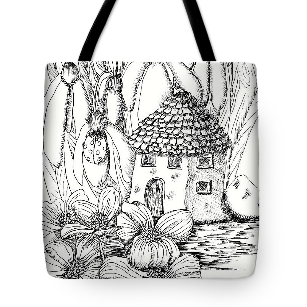 Dog Wood Garden Fairy House Tote Bag