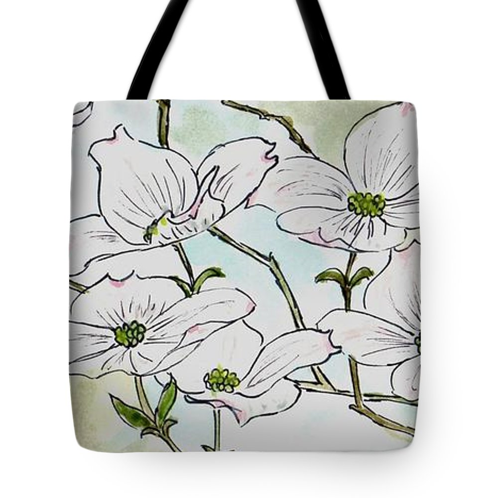 Flowers Tote Bag featuring the painting Dogwood Blossoms by Emily Page