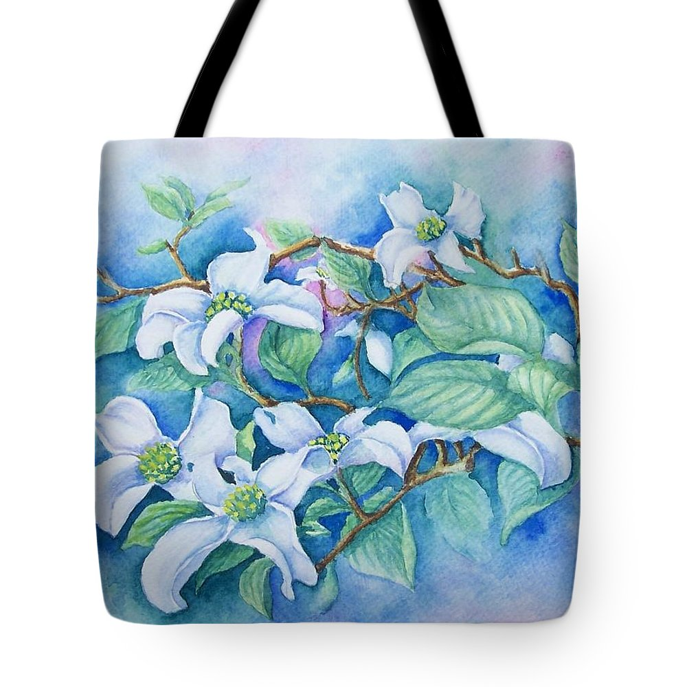 Floral Tote Bag featuring the painting Dogwood by Conni Reinecke