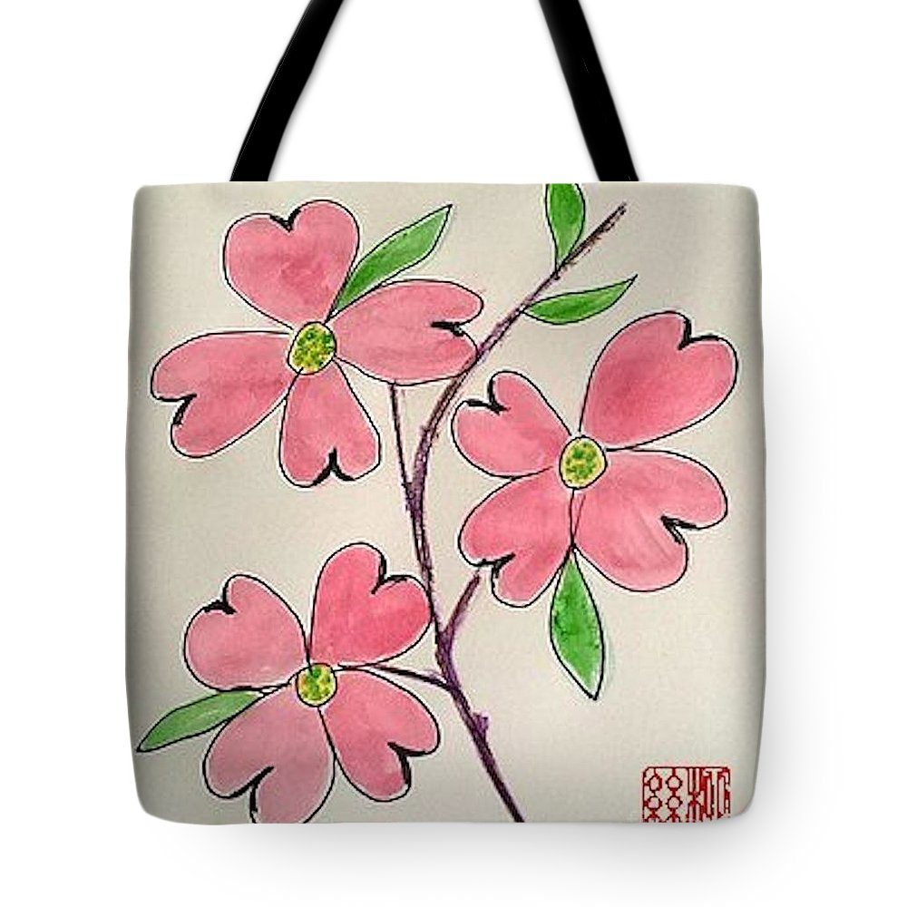 Pink Flowers Tote Bag featuring the painting Dogwood by Margaret Welsh Willowsilk
