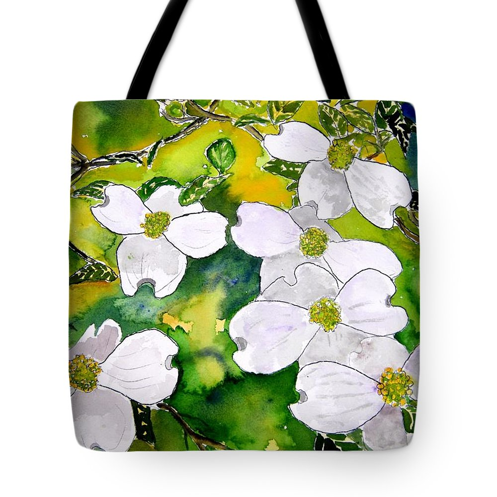 Dogwood Tote Bag featuring the painting Dogwood Tree Flowers by Derek Mccrea