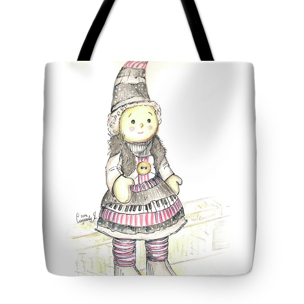 Doll Tote Bag featuring the drawing Doll by Yana Sadykova