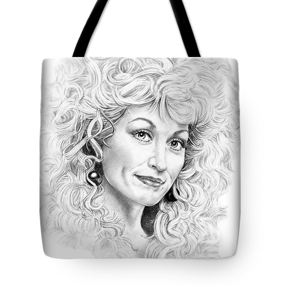 Portrait Tote Bag featuring the drawing Dolly Parton by Murphy Elliott