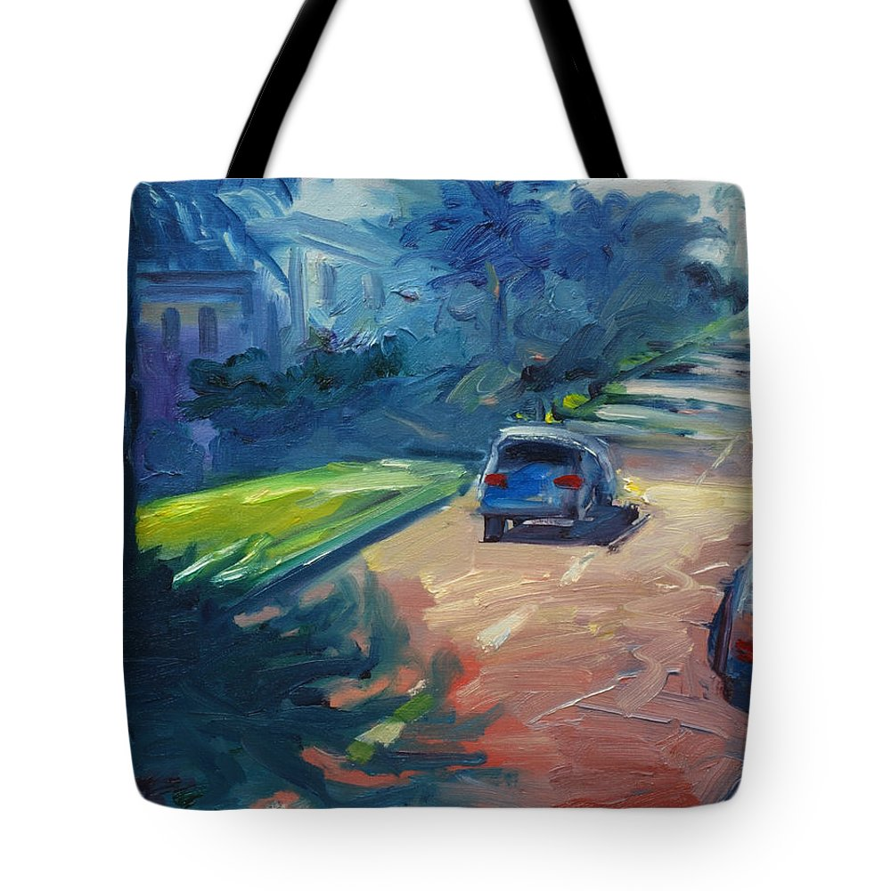 Cityscape Tote Bag featuring the painting Dolores Street by Rick Nederlof