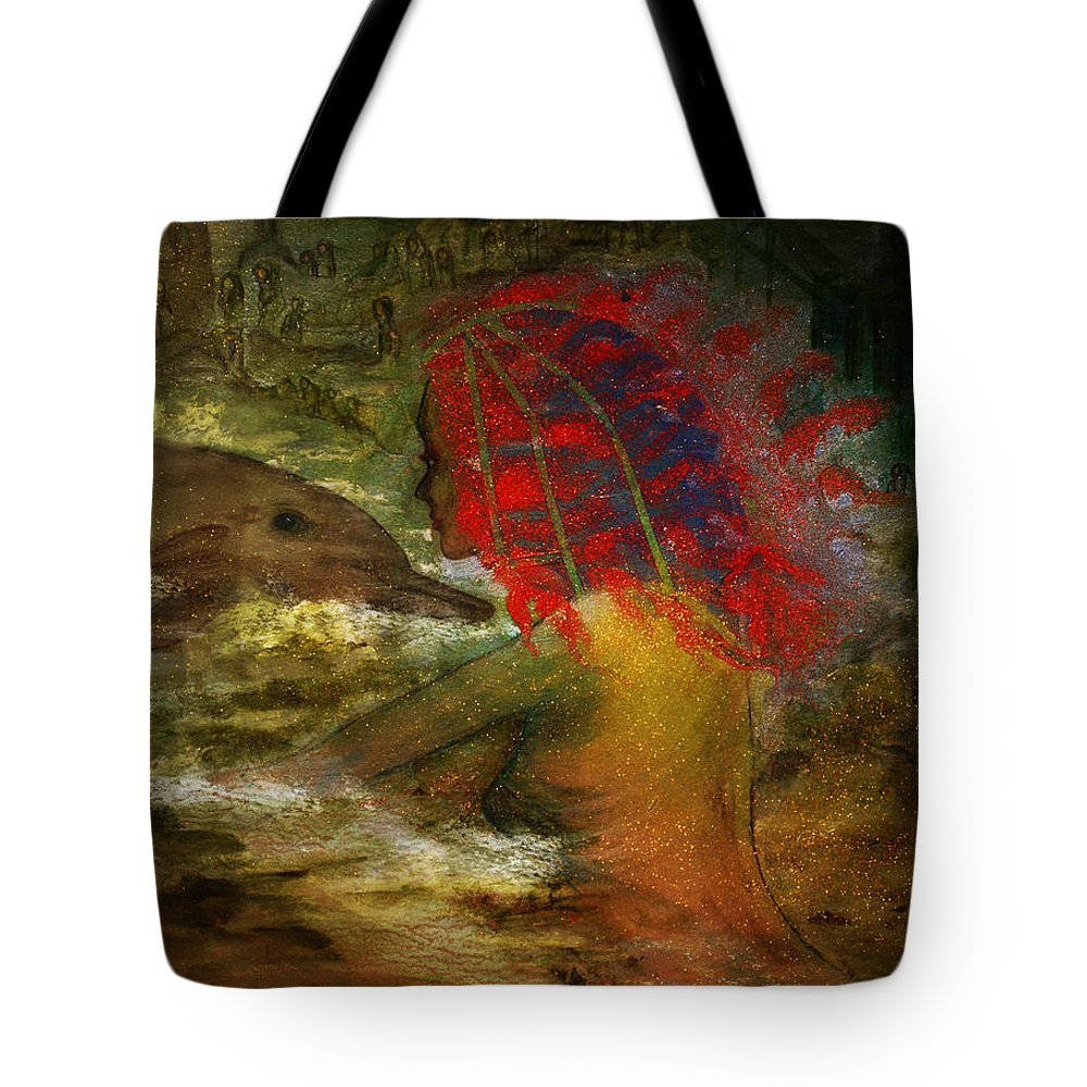 Dolphin Tote Bag featuring the digital art Dolphin And Mermaid by Patricia Motley