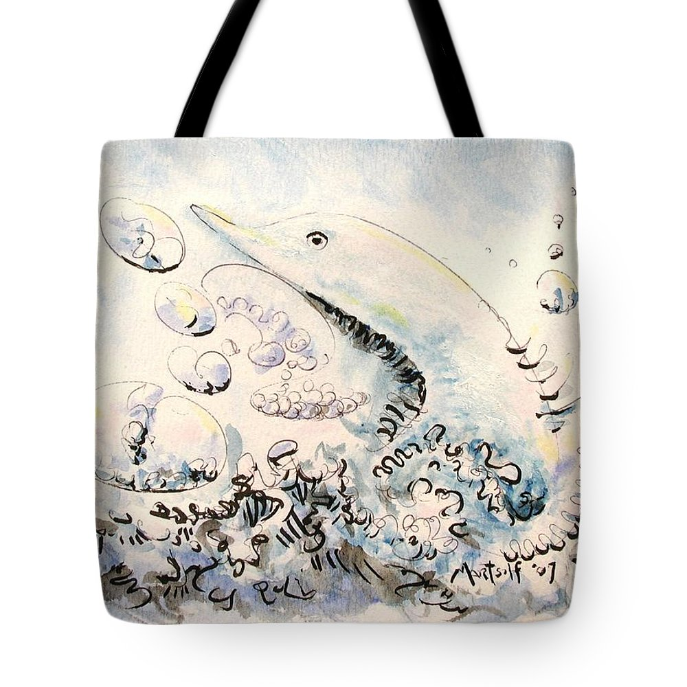 Dolphin Tote Bag featuring the painting Dolphin by Dave Martsolf