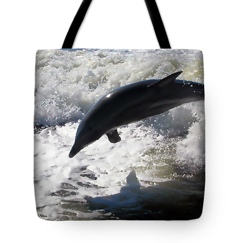 Dolphin Tote Bag featuring the photograph Dolphin Jump by Bibi Rojas