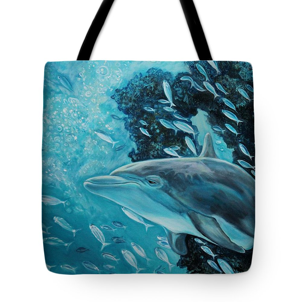 Underwater Scene Tote Bag featuring the painting Dolphin With Small Fish by Diann Baggett