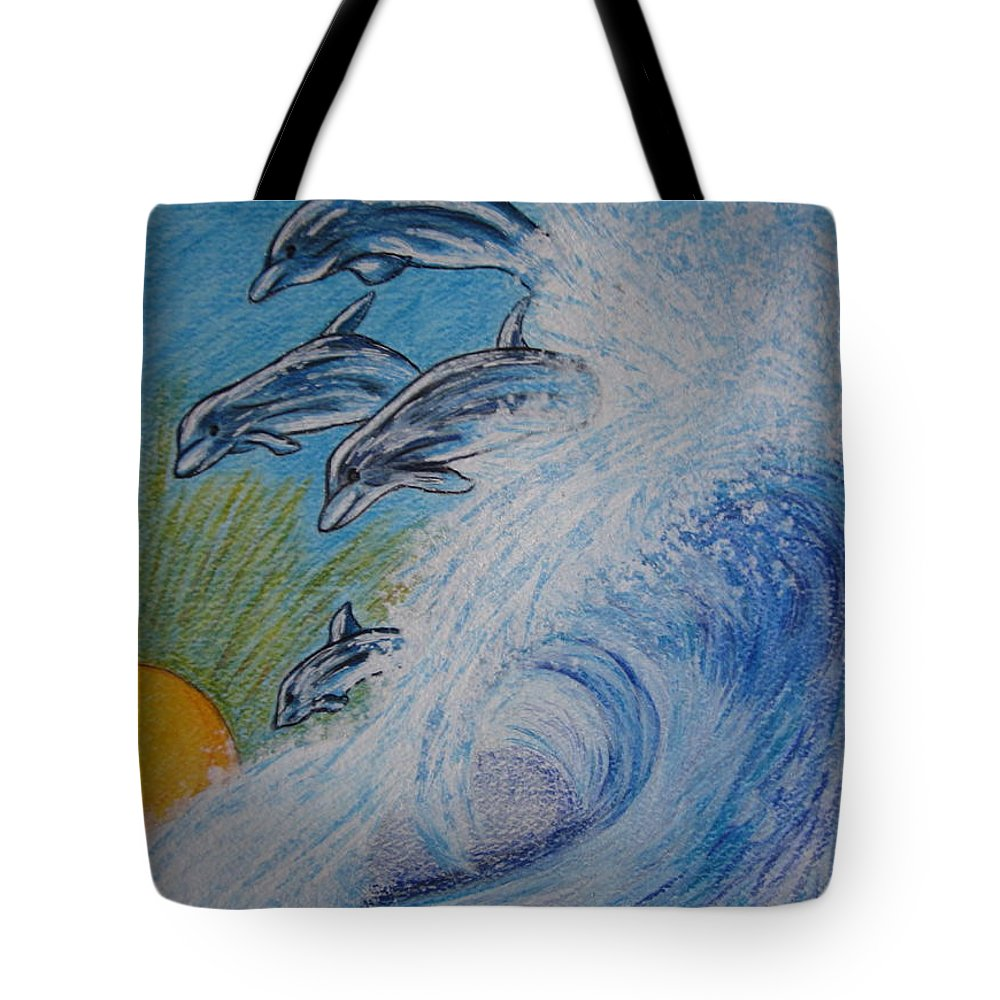 Dolphins Tote Bag featuring the painting Dolphins Jumping In The Waves by Kathy Marrs Chandler