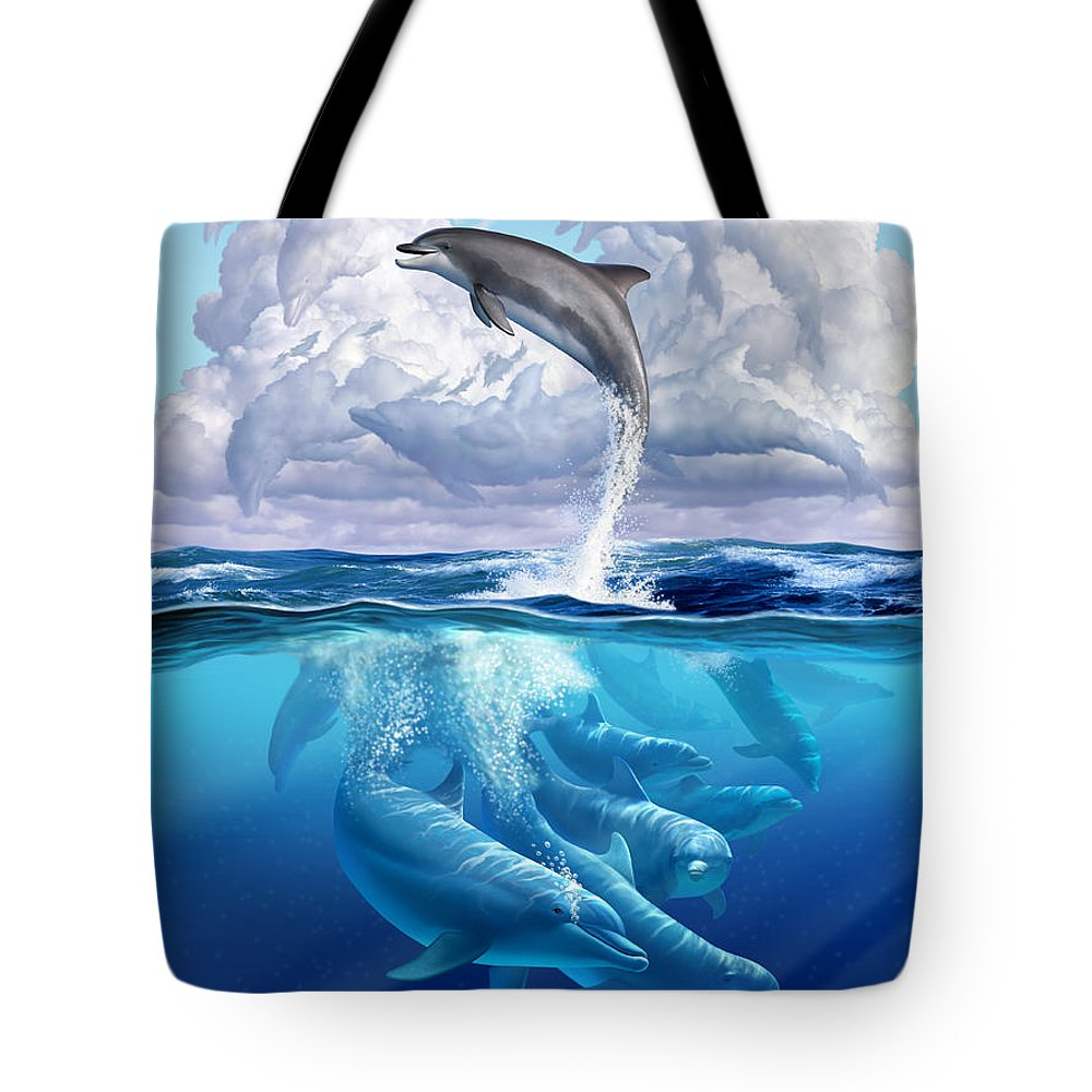 Dolphins Tote Bag featuring the digital art Dolphonic Symphony by Jerry LoFaro