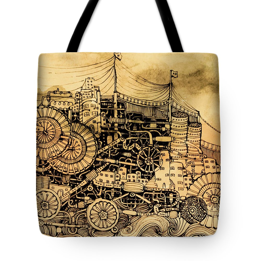 Tote Bag featuring the drawing Dominance by Anna Deligianni