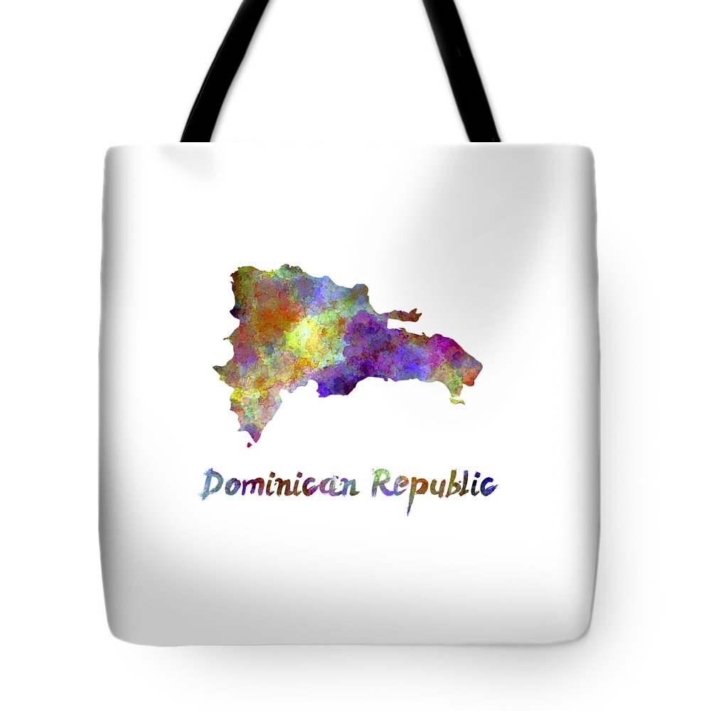 Dominican Republic Tote Bag featuring the painting Dominican Republic In Watercolor by Pablo Romero