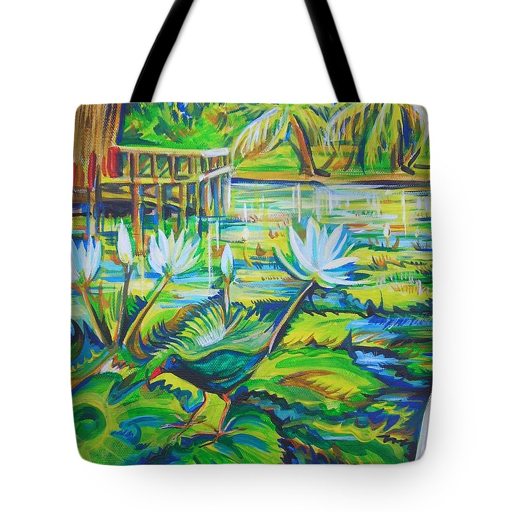 Tropics Tote Bag featuring the painting Dominicana by Anna Duyunova