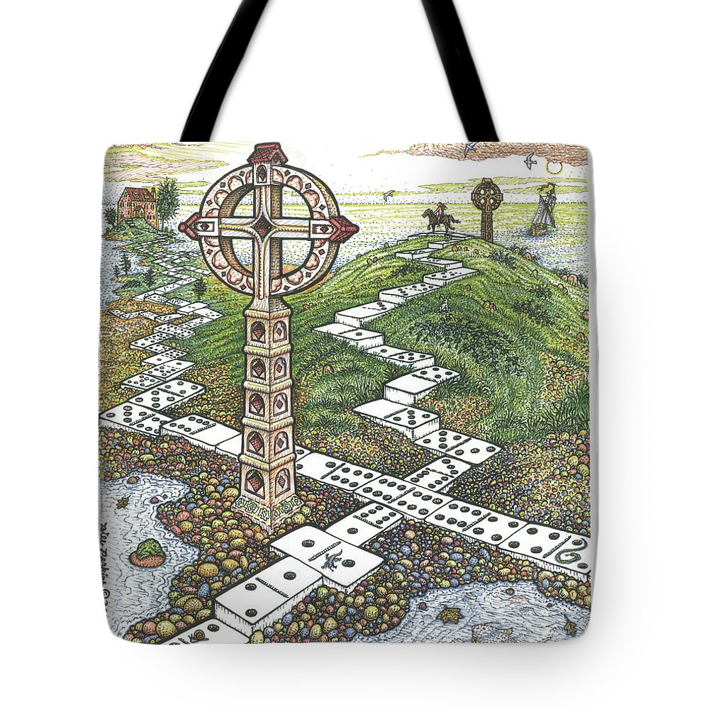 Landscape Tote Bag featuring the drawing Domino Crosses by Bill Perkins