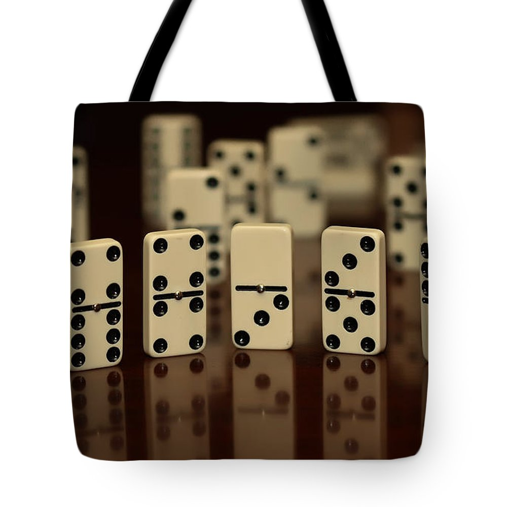 Dominos Tote Bag featuring the photograph Dominos by Cherie Duran