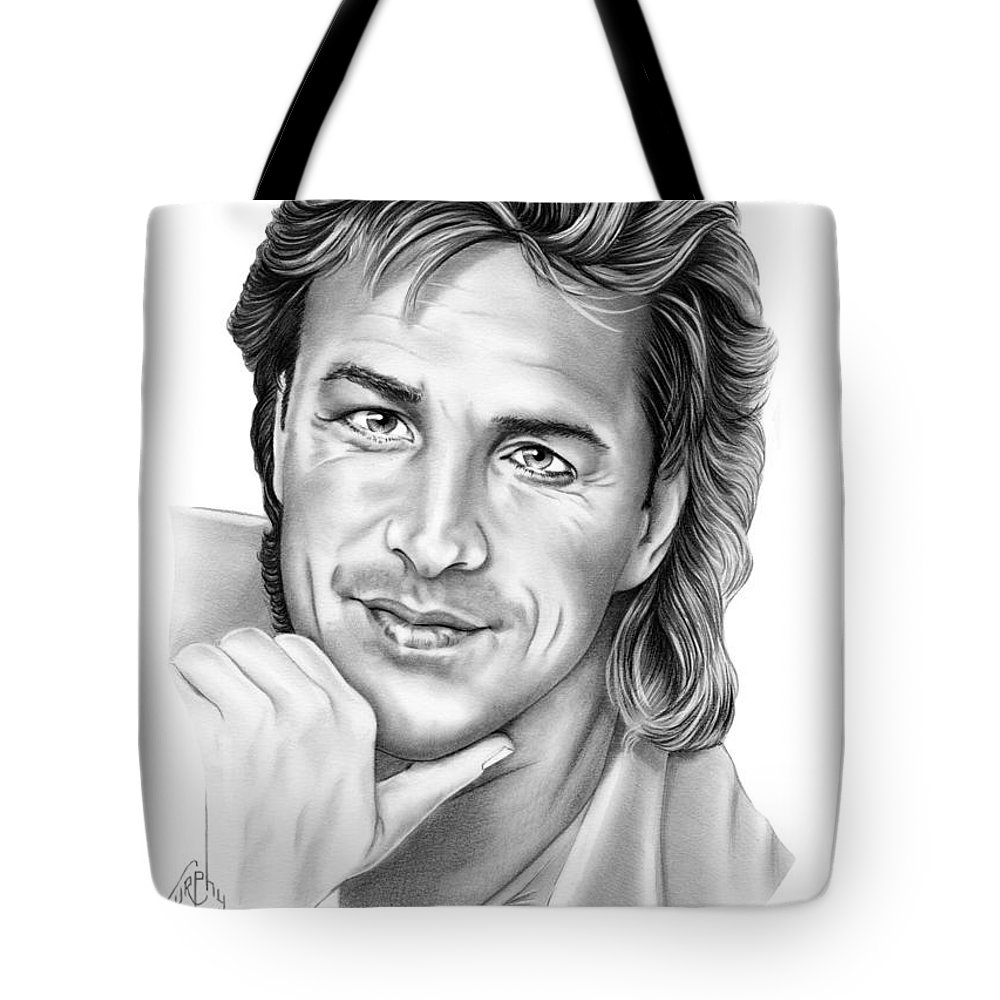 Pencil Tote Bag featuring the drawing Don Johnson by Murphy Elliott