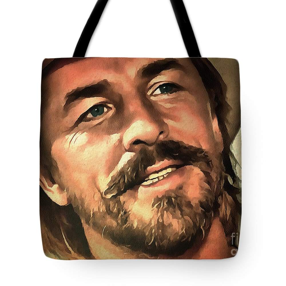 Don Johnson Poster Tote Bag featuring the painting Don Johnson by Sergey Lukashin