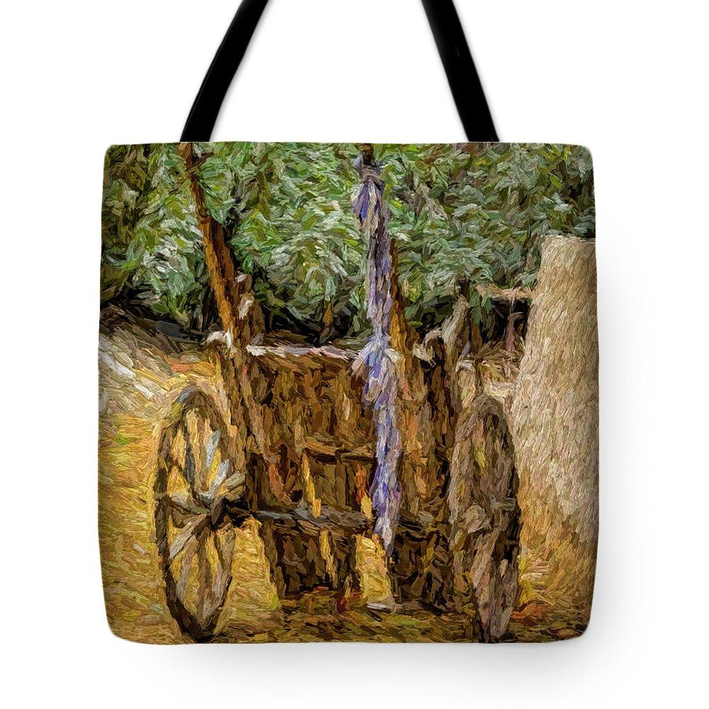 Donkey Cart Tote Bag featuring the digital art Donkey Cart by Syed Muhammad Munir ul Haq