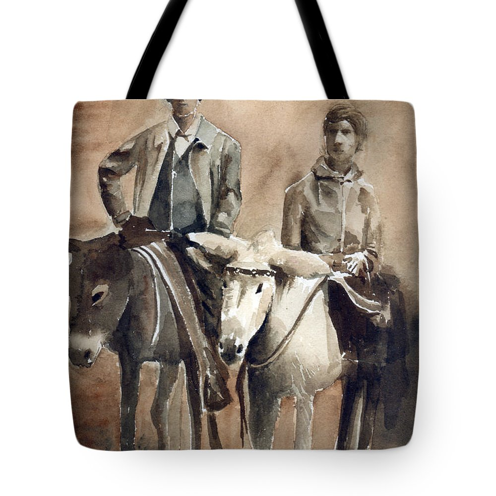 Donkey Tote Bag featuring the painting Donkey Ride by Arline Wagner
