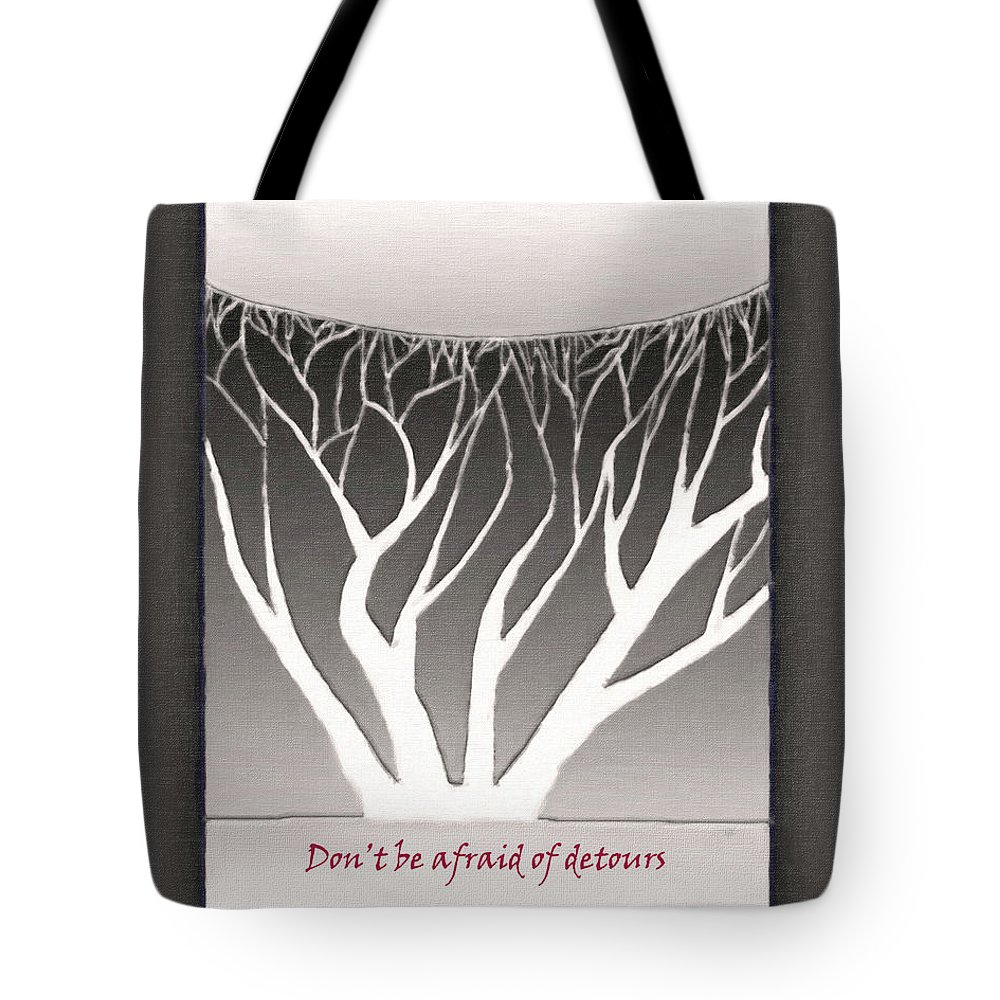 Abstract Tote Bag featuring the drawing Don't Be Afraid Of Detours by Gerlinde Keating - Galleria GK Keating Associates Inc