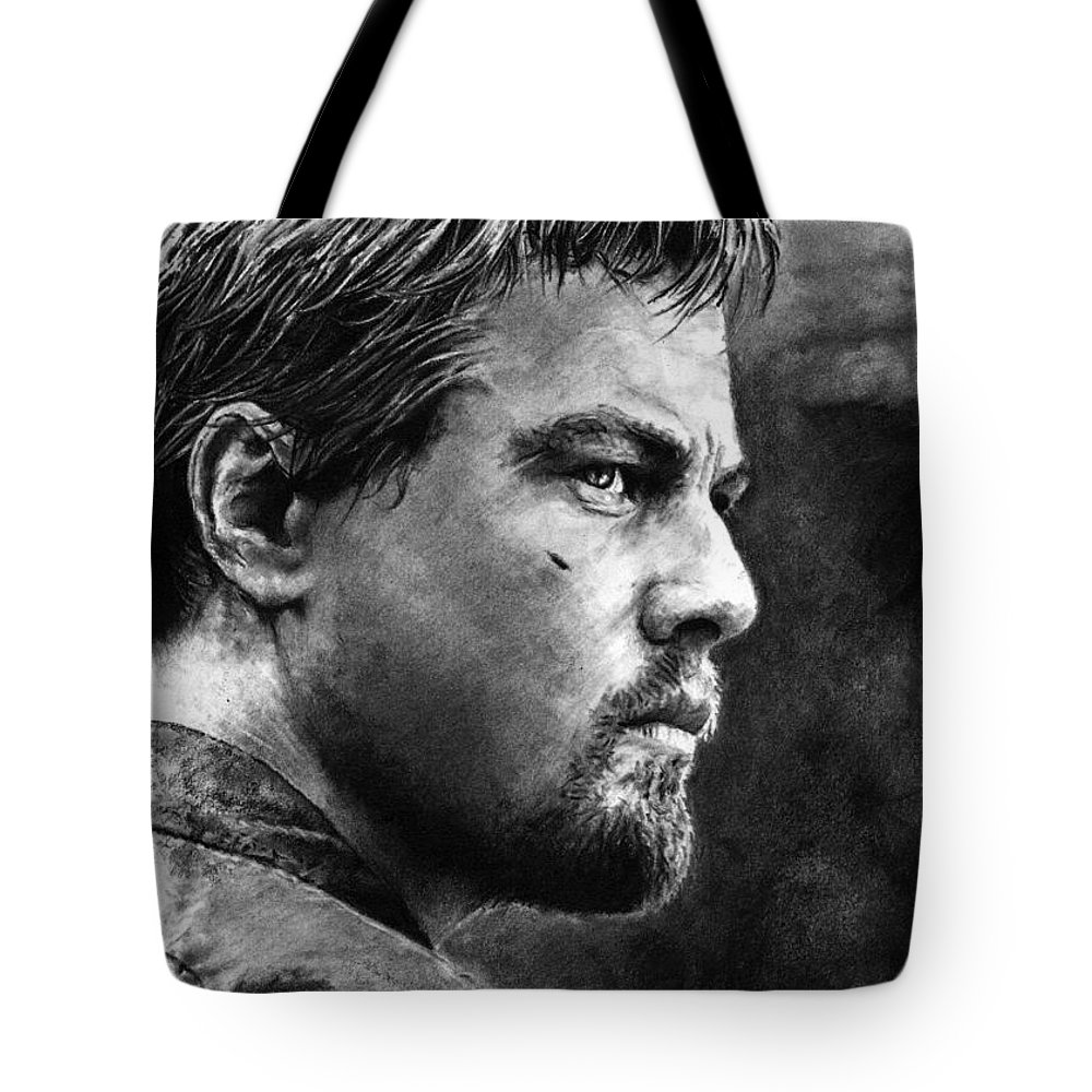 Portrait Portraiture Boy Man Men Life 2d Beautiful Cool Wicked Blood Diamond Africa Actor Detail Tote Bag featuring the drawing Don't Bullshit Me by Priscilla Vogelbacher