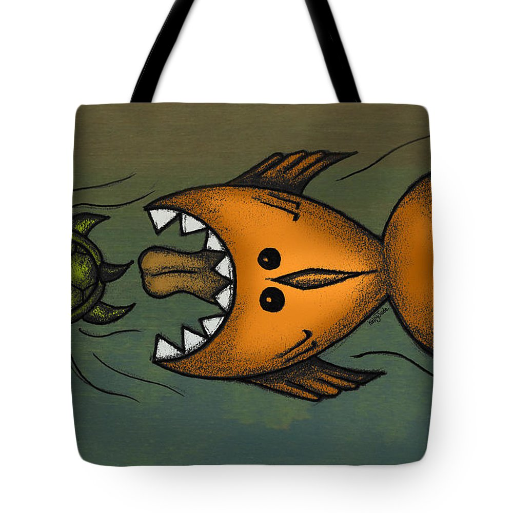Fish Tote Bag featuring the digital art Don't Look Back by Kelly Jade King