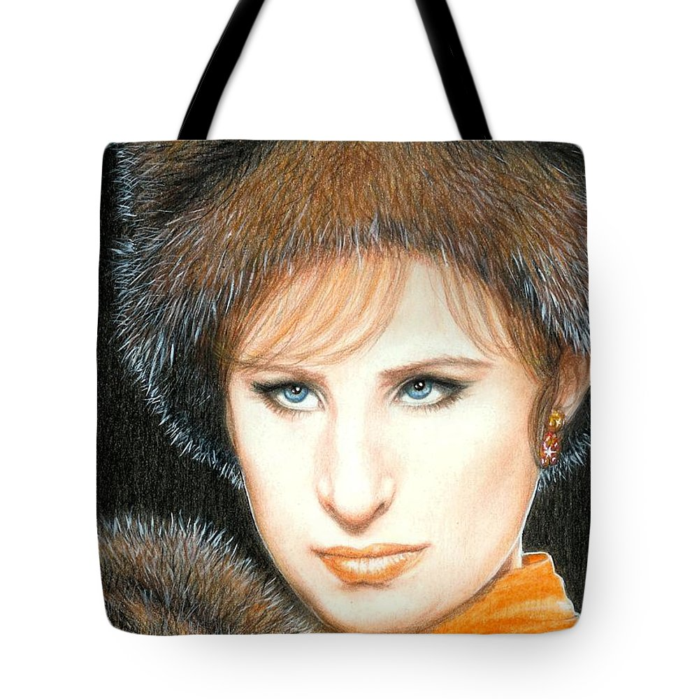 Barbra Streisand Funny Girl Bruce Lennon Art Tote Bag featuring the painting Don't Rain On My Parade by Bruce Lennon