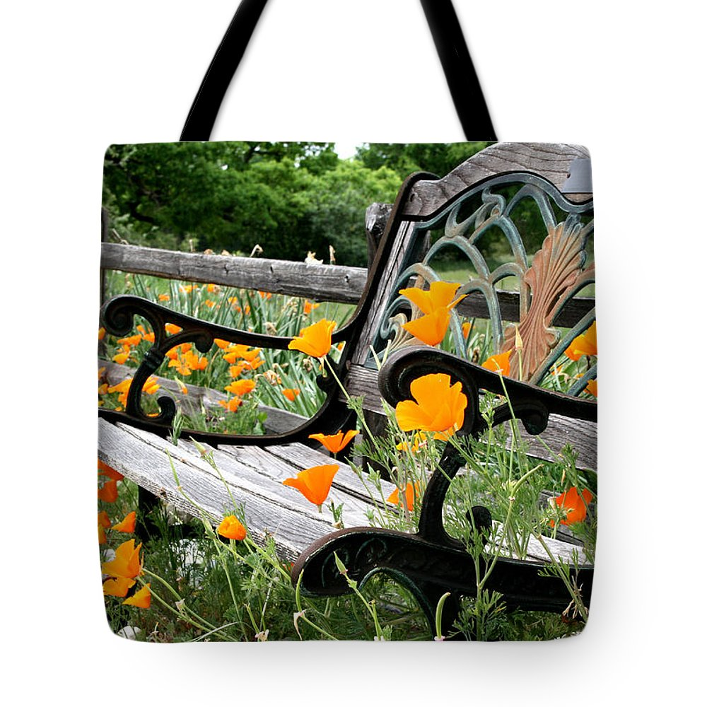 Flowers Tote Bag featuring the photograph Don't Sit On The Poppies by Sally Bauer