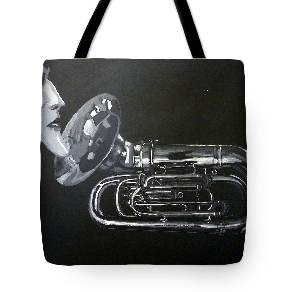 Tuba Tote Bag featuring the painting Don't You Dare Play That by Richard Le Page