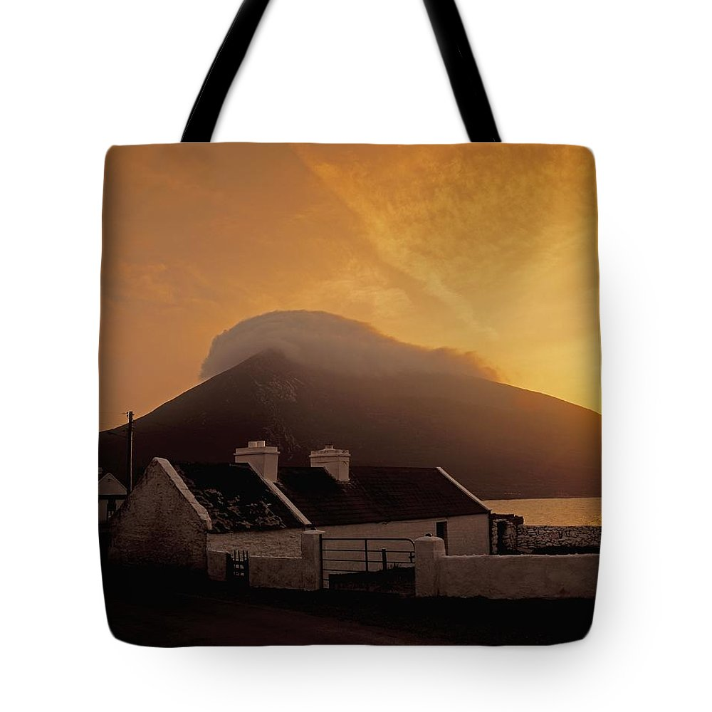 Architecture Tote Bag featuring the photograph Doogort And Slievemore, Achill Island by The Irish Image Collection