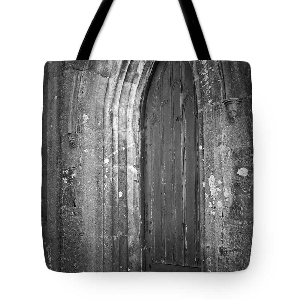 Irish Tote Bag featuring the photograph Door At Protestant Church Macroom Ireland by Teresa Mucha