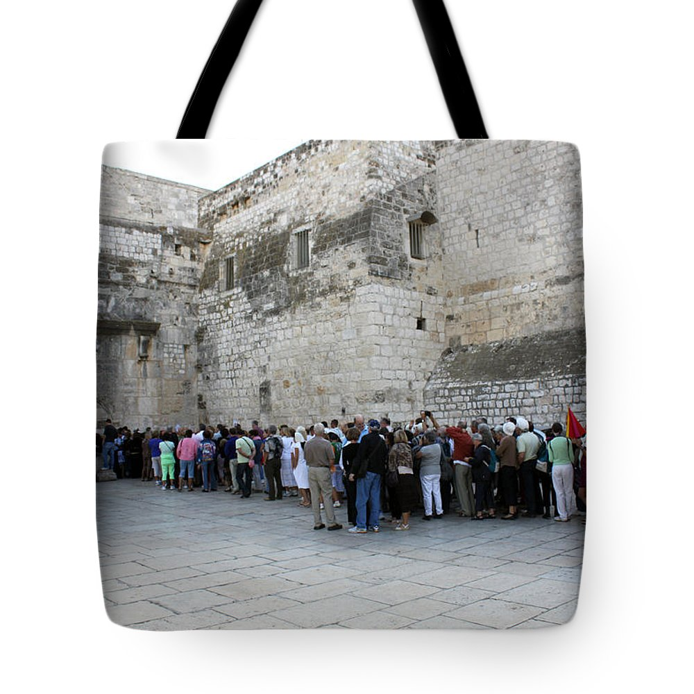 Christmas Tote Bag featuring the photograph Door Of Humility by Munir Alawi