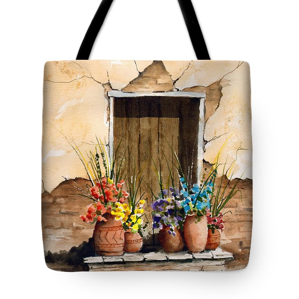 Door Tote Bag featuring the painting Door With Flower Pots by Sam Sidders