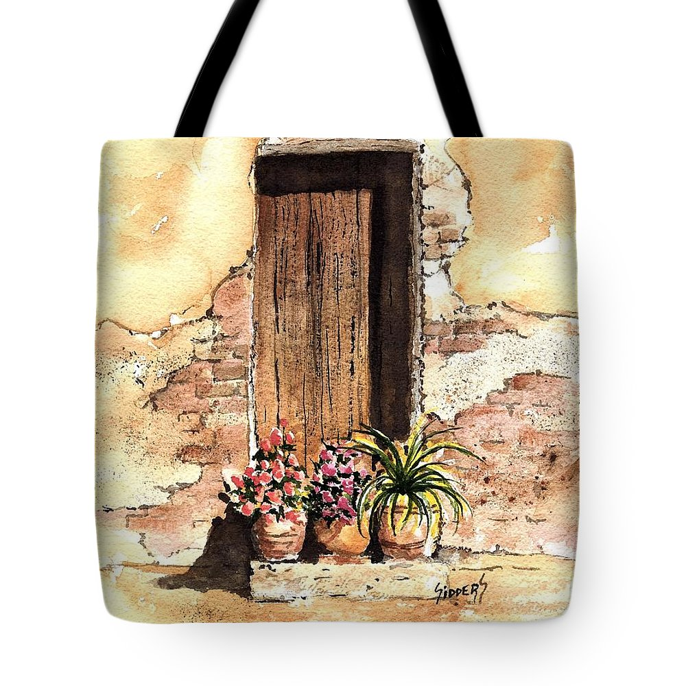 Door Tote Bag featuring the painting Door With Flowers by Sam Sidders