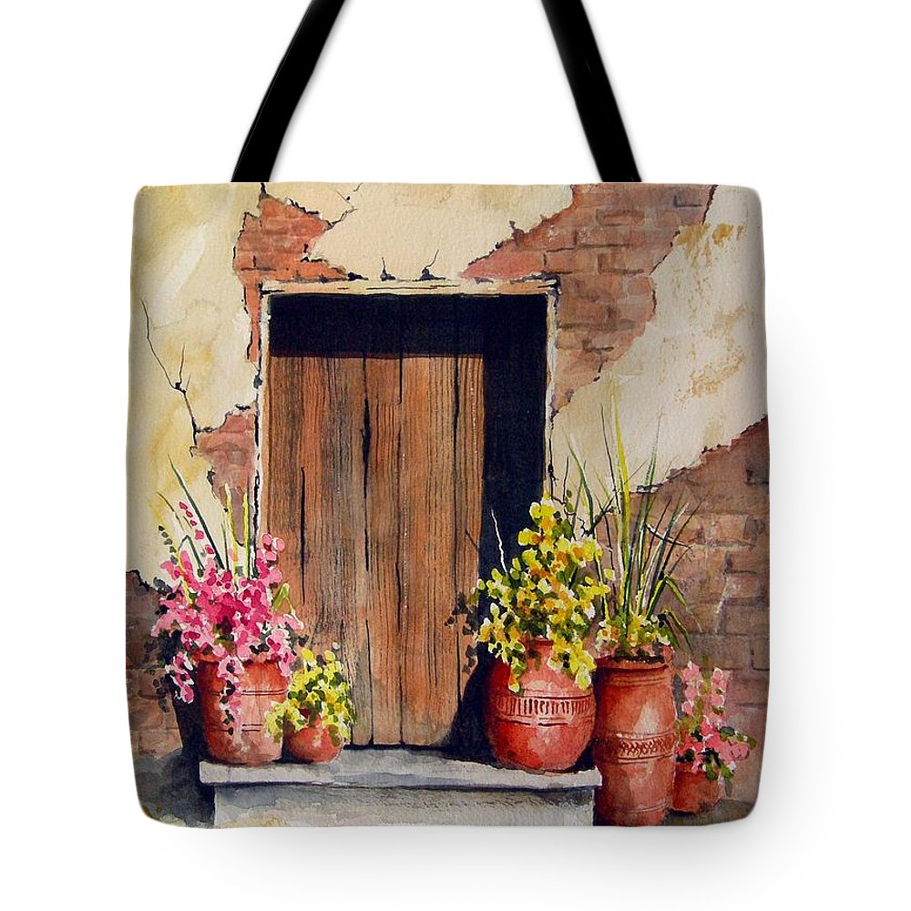 Flowers Tote Bag featuring the painting Door With Pots by Sam Sidders