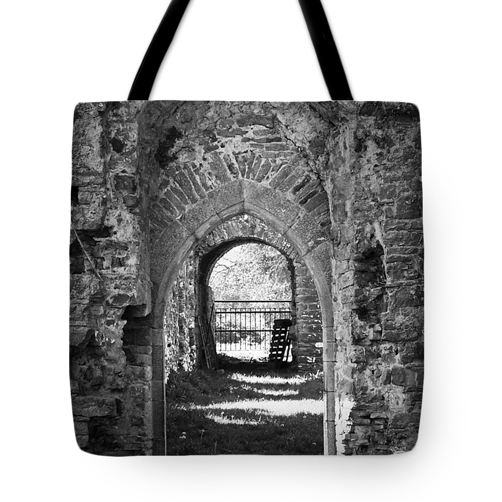 Irish Tote Bag featuring the photograph Doors at Ballybeg Priory in Buttevant Ireland by Teresa Mucha