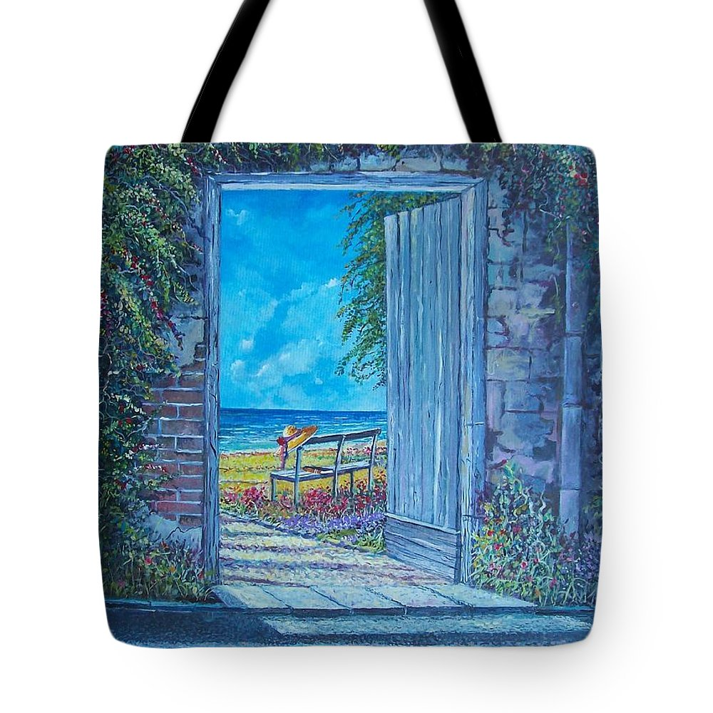 Original Painting Tote Bag featuring the painting Doorway To ... by Sinisa Saratlic