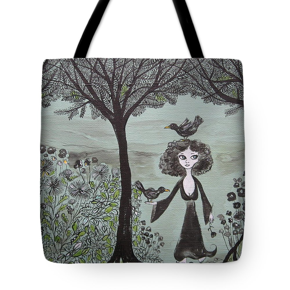 Woods Tote Bag featuring the painting Ninas Garden by Sue Wright