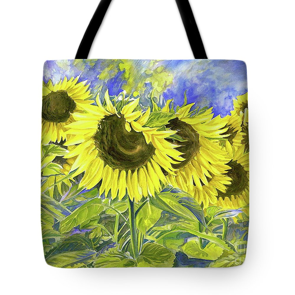 Sunflower Tote Bag featuring the painting Dordogne Sunflowers by Dawn Thrasher