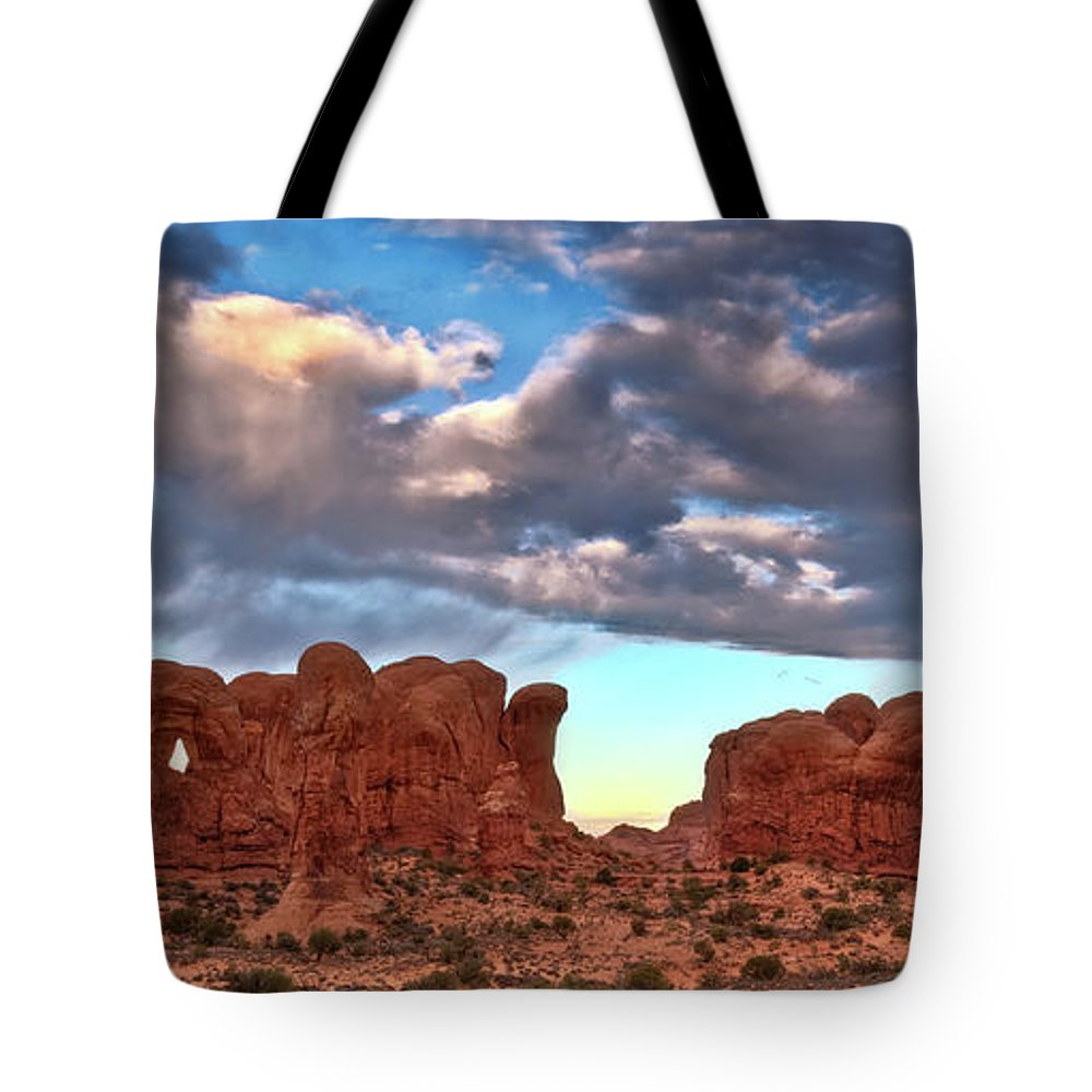 Tote Bag featuring the photograph Double Arch 1 by Paul Basile