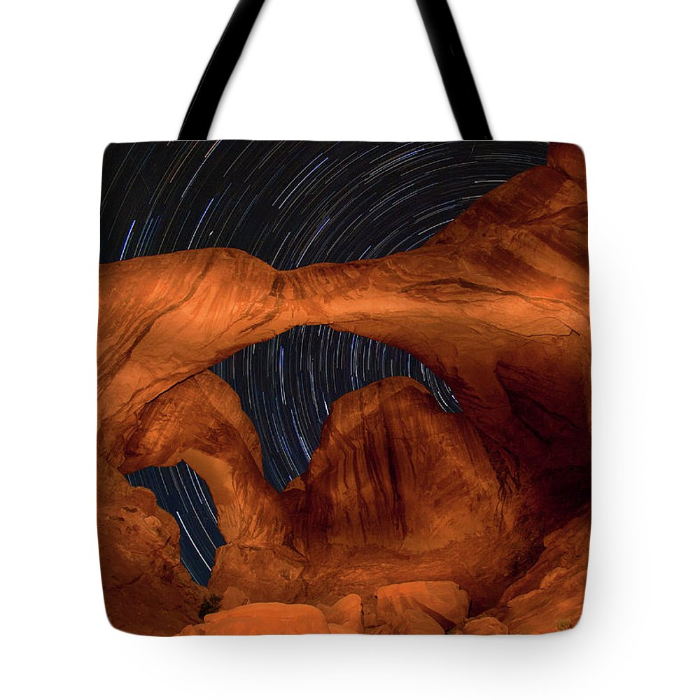 3scape Tote Bag featuring the photograph Double Arch Star Trails by Adam Romanowicz