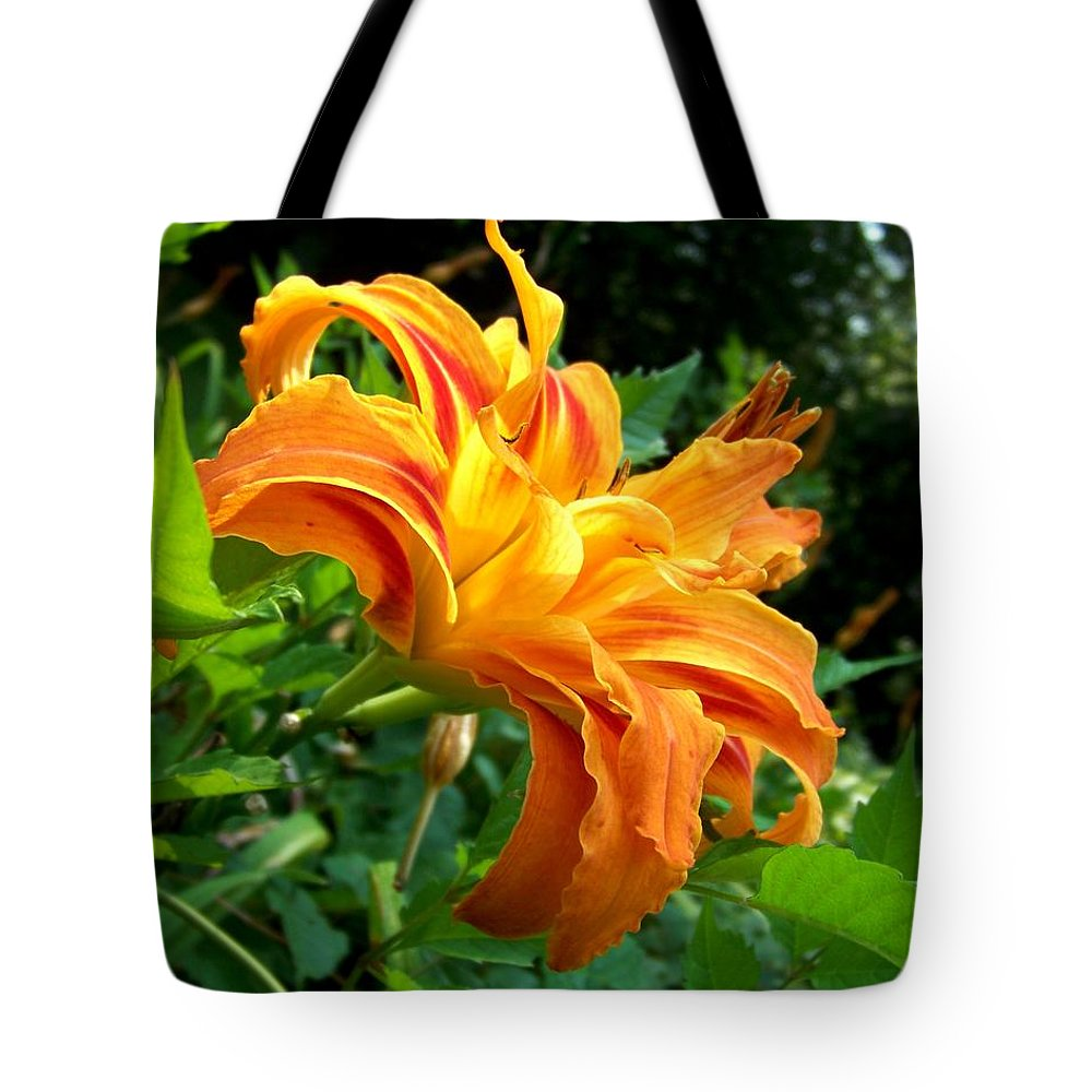 Flower Tote Bag featuring the photograph Double Blossom Orange Lily by Jai Johnson