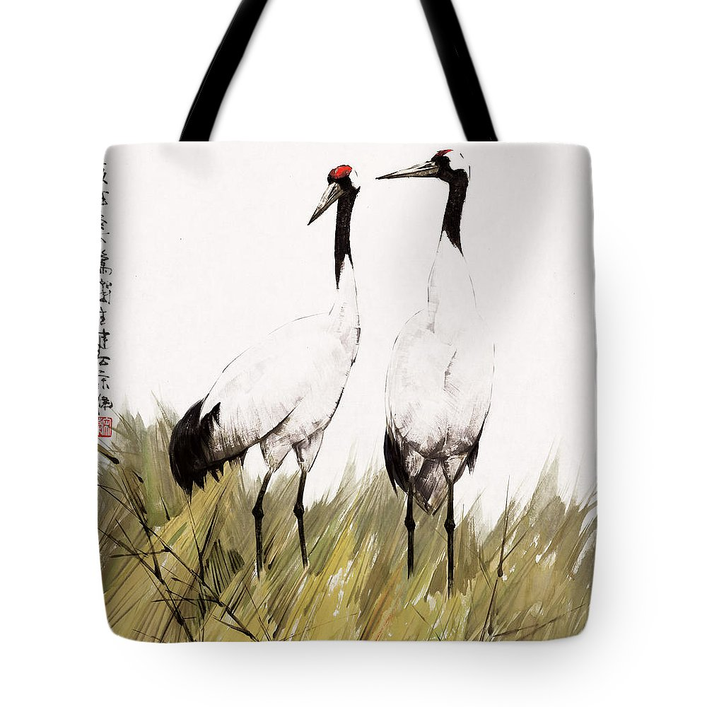 Double Crane Tote Bag featuring the painting Double Crane by Song Di
